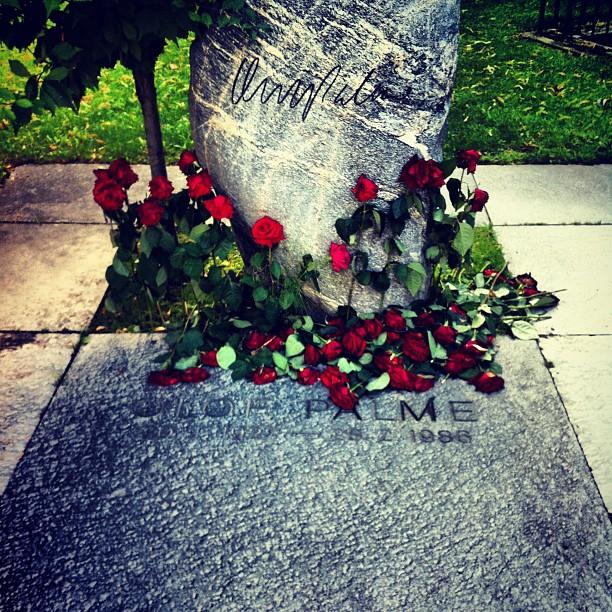 tumba de Olof Palme en Estocolmo, Suecia